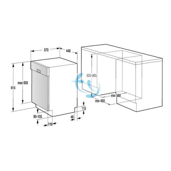 Gorenje GI55110 beépíthető mosogatógép, A++, GYÁRI GARANCIA