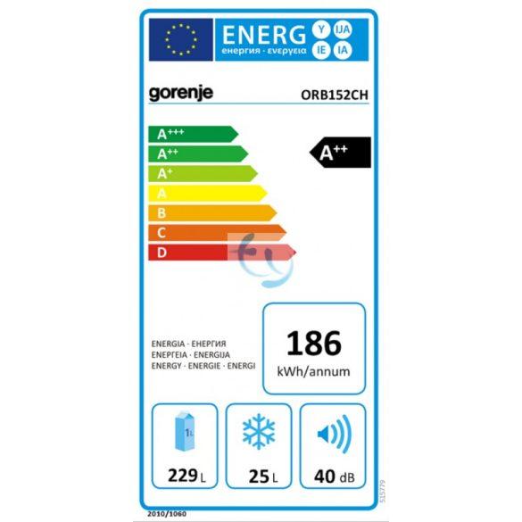 Gorenje ORB152BK Hűtőszekrény, hűtőgép, A++, Gyári garancia