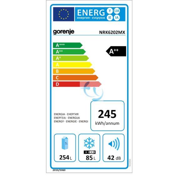 Gorenje NRK6202MX Hűtőszekrény, hűtőgép, A++,  Gyári garancia