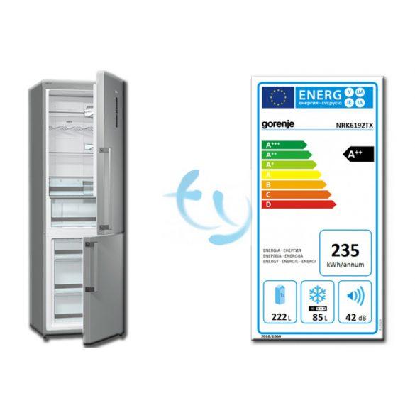 Gorenje NRK 6192 TX, A++, no frost, kombinált hűtő, 3 ÉV GYÁRI GARANCIA