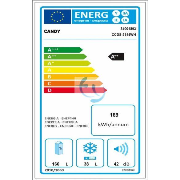 Candy CCDS 5144W Hűtőszekrény, hűtőgép, A++, GYÁRI GARANCIA