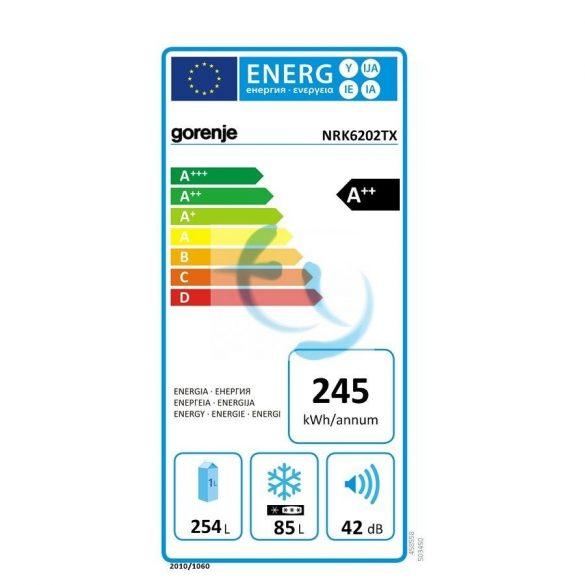 Gorenje NRK6202TX No frost, inox, kombinált hűtő, A++, 3 ÉV GARANCIA